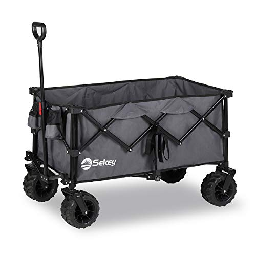Sekey Faltbarer Bollerwagen, tragbarer Strandwagen Außenwagen Faltwagen, Trolley Outdoor Folding Wagon, Grau
