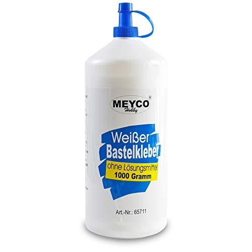Meyco weißer Bastelkleber 1000 g - trocknet transparent - ohne Lösungsmittel - für Textil, Holz, Filz, Papier - Universalkleber mit Dosierspitze