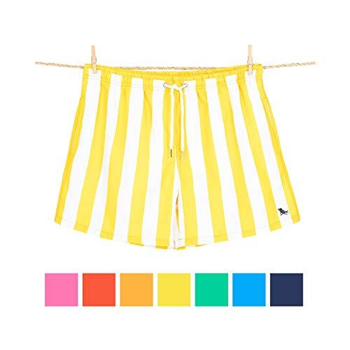 Dock & Bay Gestreift Extra großes Gelb Schnelltrocknend Brett Kurz - Badehose für Herren aus 100% recycelten Wasserflaschen