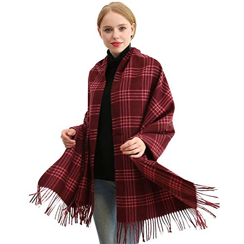 Longwu Bufanda de lana de cachemira suave para mujer Manta y envoltura de pashmina grande Manta de estola cálida Vino rojo