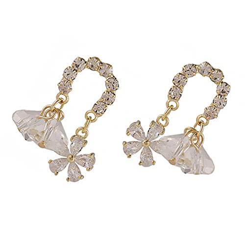 SOIMISS 1 par de Pendientes de Flores de Diamantes de Imitación de Cristal Colgante Pendiente Elegante Clásico Floral Pendientes Tachuelas para Las Mujeres Niñas Nupcial Fiesta de Boda
