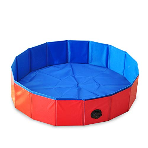 Hond Zwembad, Pvc Wasvijver Hond Kattenbad Huis Bed Zomer Opvouwbaar Zwembad 5 Maten 1 St, Rood, 80 X 30