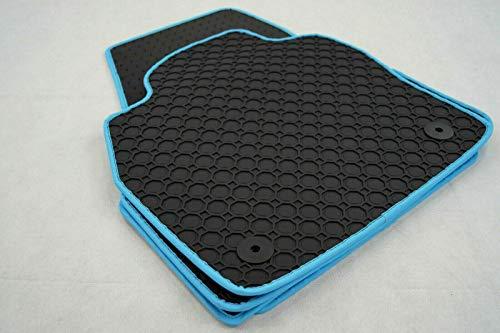Preisvergleich Produktbild Octagon Gummi-Fußmatten für T4 2tlg. ab 1990 fahrzeugspezifisch mit türkiser Ledereinfassung