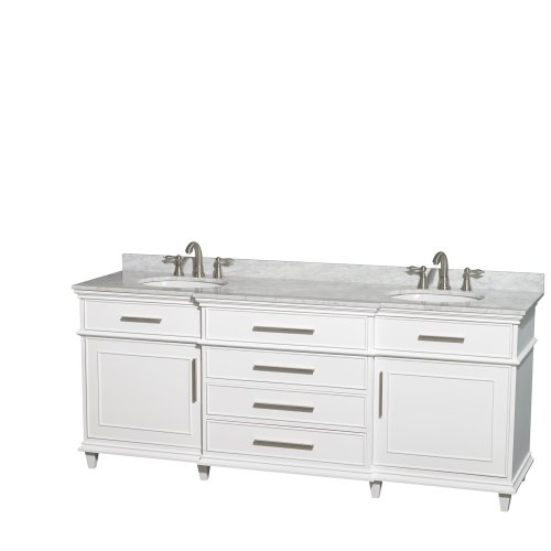 Wyndham Collection Berkeley 80 inch Double Bathroom Vanity in White with White Carrara Marble Top with White Undermount Oval Sinks and No Mirror