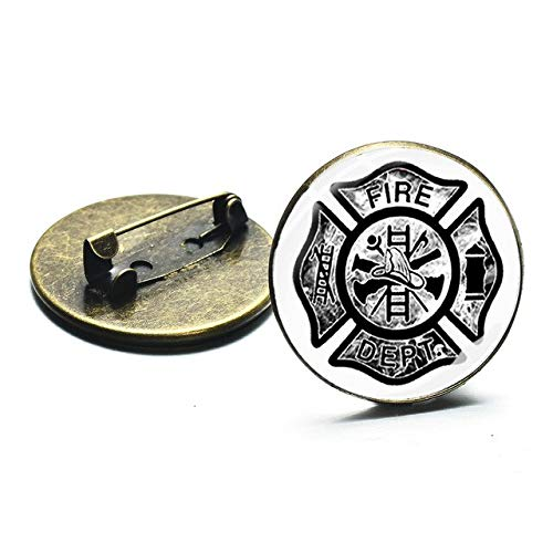 Fashion Firefighter Symbol Brooches Fire Dept Sign Glass Cabochon Dome Punk Bag Clothes Badge Pin Decoration Accessories