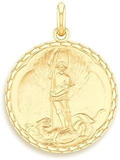 Medalla religiosa de San Miguel en oro amarillo 9quilates–Diámetro: 17 mm.