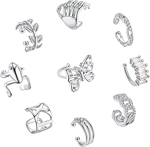 CASSIECA 9 Stück Vintage Manschetten Ohrringe Set für Frauen Kein Piercing Zirkonia Funkelnde Knorpel Ohr Manschetten Frosch Schmetterling Clip auf Wickel Manschetten Ohrringe