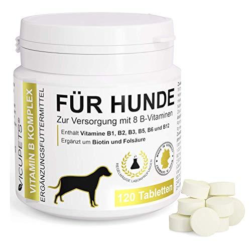 Vicupets Vitamin B Komplex Hund | Nahrungsergänzungsmittel Hund | Vitamine für Hunde | Vitaminpräparate Hund | 100% Natürliche Tabletten | 120 Stück |