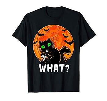 Chat quel chat drôle avec couteau Halloween Costume T-Shirt