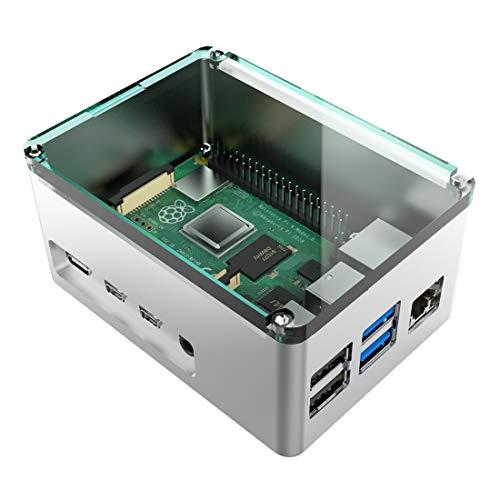 anidees Aluminium Extra Hoch Pi Case Gehäuse für Raspberry Pi 4 Model B - Silber (AI-PI4-SG-H)