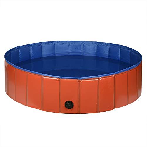 EUGAD 0004GYYC Hundepool, Hunde Swimmingpool Planschbecken Haustier Schwimmbad Badewanne Für Hunde Katzen Faltbares Doggy Pool Katzenpool, Rot+blau 120x30cm