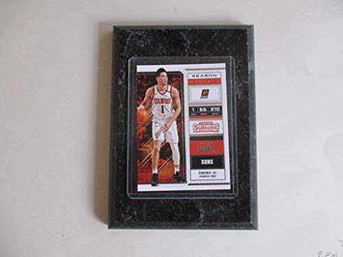 DEVIN BOOKER PHOENIX SUNS PANINI CONTENDERS NBA 2018 (WHITE JERSEY) PLAYER CARD MOUNTED ON A 4' X 6' BLACK MARBLE PLAQUE