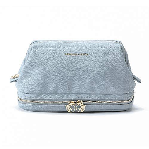 Kulturtasche aus Leder für Frauen & Mädchen, Lychii Groß Reise-Kulturtasche | Waschtasche | Beauty Case | Waschbeutel | Reise Toilettentasche (Blau)