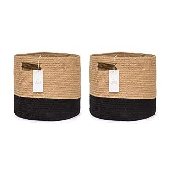 Chloe and Cotton Woven Fabric Cube Storage Baskets 13 X 13 | Rope Cubby Storage | Kids Laundry Hamper Dog Toy Basket Large Storage Organizer Bin - Jute Black