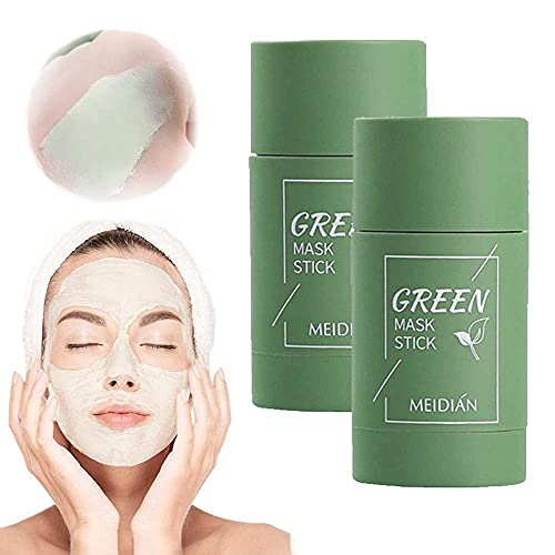 2 PCS Green Tea Purifying Clay Stick Mask, Blackhead Remover, Face Moisturizes Oil Control, Deep Cleansing Pore