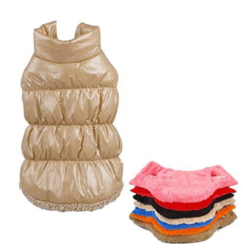 Kismaple Manteau imperméable pour Chien Veste d'hiver rembourré matelassé Doudoune pour Chien Pet Chiot vêtements Assortis Marron Clair S Poitrine: 35-37CM