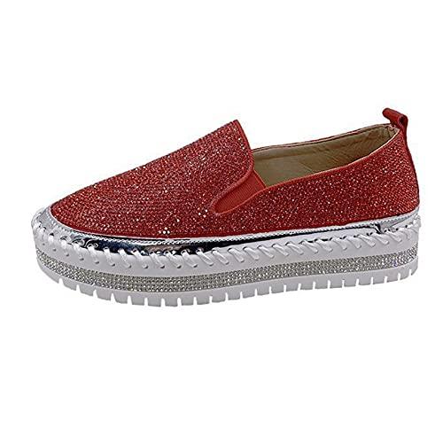 Sandalias planas de pedrería para mujer, mocasines de punta redonda, para mujer, zapatos de estudiante, zapatos de trabajo, ideales para el día a día, la escuela, el trabajo, rojo, 38 EU