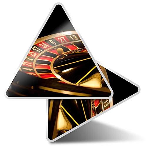 2 pegatinas triangulares de 10 cm – ruleta rueda casino divertidas calcomanías para portátiles, tabletas, equipaje, reserva de chatarra, nevera # 3625