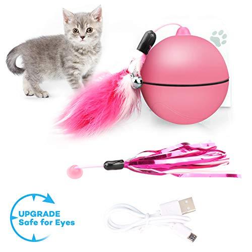 Kaufam Katzenspielzeug Ball, Interaktives Spielzeug Katzenball mit Licht Federschwanz, Automatische Lenkung, Sicher und Ungiftig Haustier Übungsbälle - Pink