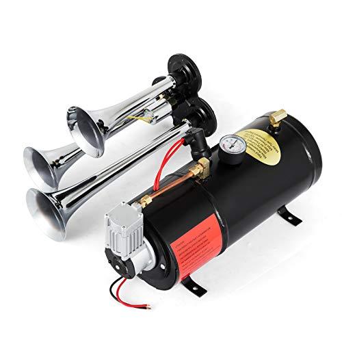 Bestauto 150DB 12V 3 Trumpet Train Air Horn Kit 150 PSI Air Horn Compressor with 0.8 Gal Air Tank for Truck/Train/Car/SUV/Van/Boat (0.8 Gallon, Silver)
