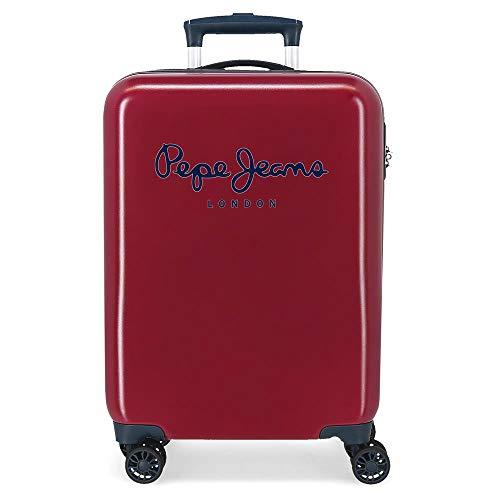 Pepe Jeans Albert Maleta de Cabina Rojo 40x55x20 cms Rígida ABS Cierre de combinación Lateral 34L 2 kgs 4 Ruedas Dobles Equipaje de Mano