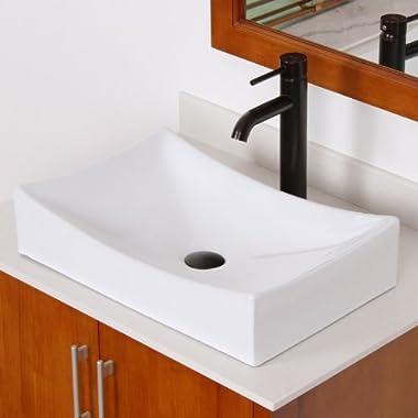 ELITE Bathroom Long Rectangle White Ceramic Porcelain Vessel Sink & Oil Rubbed Bronze Faucet for Vanity
