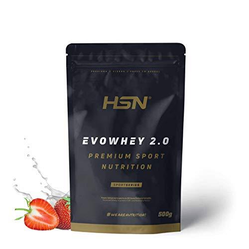 Concentrado de Proteína de Suero Evowhey Protein 2.0 de HSN   Whey Protein Concentrate  Batido de Proteínas en Polvo   Vegetariano, Sin Gluten, Sin Soja, Sabor Fresa, 500g