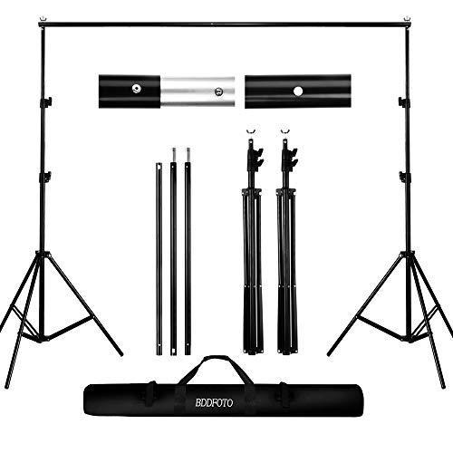 BDDFOTO Kit de Soporte de Estante de Fondo Ajustable, 2x2metros Soporte de Fondo para Retrato de Estudio, fotografía de Producto y grabación de Video, con Bolsa de Lona