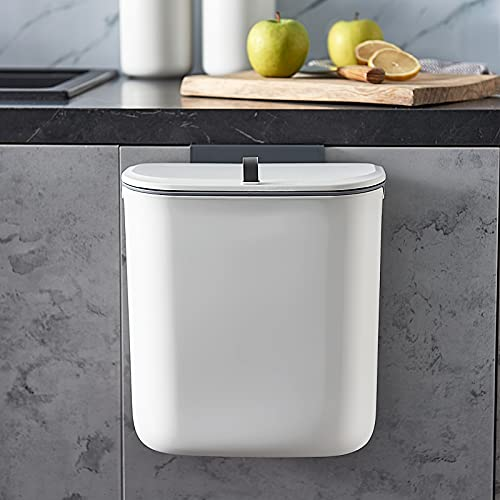 ELPHECO 2.5 Gallon Hanging Trash Can with Lid, Kitchen Cabinet Door...