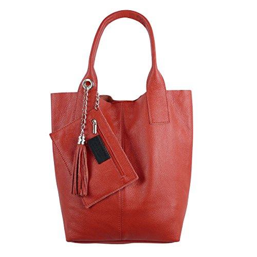 Freyday Damen Echtleder Shopper mit Schmucktasche in vielen Farben Schultertasche Henkeltasche Handtasche Metallic look (Rot)