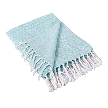 DII Rustic Farmhouse Cotton Blanket Throw with Fringe For Chair, Couch, Picnic, Camping, Beach, & Everyday Use , 50 x 60  - Mandala Circles Aqua