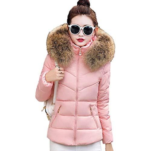 Theshy Damen Winterjacke Wintermantel Lange Daunenjacke Jacke Outwear Frauen Winter Warm Daunenmantel Arbeiten Sie festen beiläufigen dickeren dünnen Mantel um (XL, Rosa)