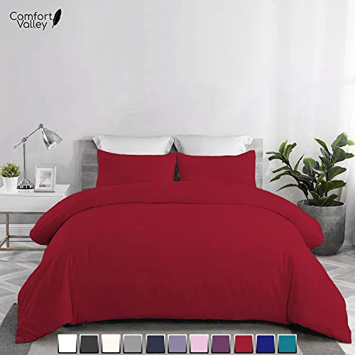 Comfort Valley Percale Duvet Cover 3pcs Bedding Set, Easy Care Plain Dyed - Solid Color - Soft and Breathable (Red, Super King)