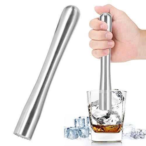 Muddler Cocktail, Cocktail Muddler Roestvrij Staal 7,3/8,9inch Cocktailstamper Barbenodigdheden voor Citroenhamer…