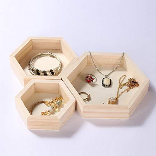 niyin204 - Conjunto de 3 piezas de madera hexagonal con forma de collar, joyas, expositor de cristal L/M/S, talla Sturdy