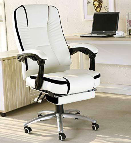 Binnenlandse Zaken High-Back leer stoel, verstelbare Lift, dik kussen/Ergonomisch Taille Ondersteuning Design, Wit/Zwart/Rood,Red