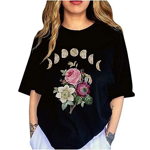 AMhomely Tops de verano para mujer, manga corta, diseño vintage con estampado de luna, manga corta, talla grande, elegante, talla Reino Unido