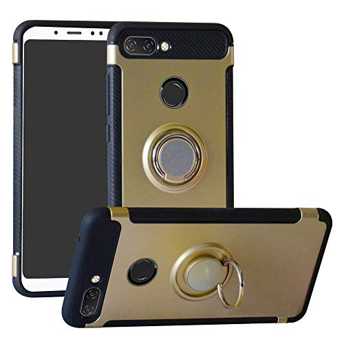 Labanema Xiaomi 8 Lite Funda, 360 Rotating Ring Grip Stand Holder Capa TPU + PC Shockproof Anti-rasguños teléfono Caso protección Cáscara Cover para Xiaomi Mi 8 Lite - Oro