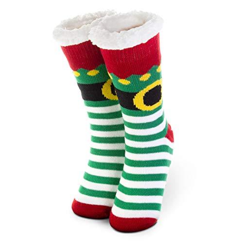 Christmas Elf Slipper Sock | Holiday Socks | Sherpa Fleece Lined | One Size Fits Most