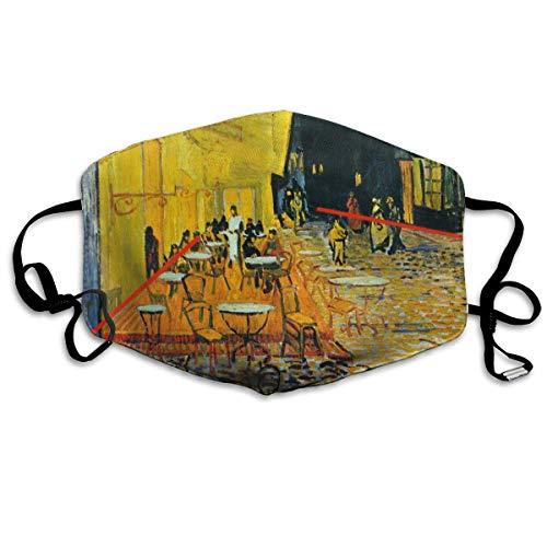 Multifunktionale Gesichtsschutzhülle,Buntes Vincent Cafe Gemälde Von Van Gogh Gelbes Öl Gedruckte Unisex Waschbare Wiederverwendbare Gesichtsdekorationen Für Den Persönlichen Schutz