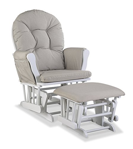 Storkcraft Premium Hoop Glider and Ottoman White Base Taupe Swirl Cushion – Padded Cushions with Storage Pocket Smooth Rocking Motion Easy to Assemble Solid Hardwood Base