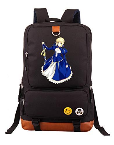 WANHONGYUE Fate Zero Stay Night Grand Order Anime Bolsos Mochila para Portátil Bolsa para la Escuela Estudiantes Backpack Negro /4