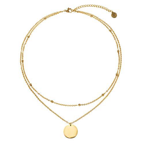 LEGITTA Damen Layered Zweireihige Kette mit Runder Plättchen Anhänger in Gold Zarte Kreis Mehrreihige Edelstahl Halskette aus Titan nickelfrei