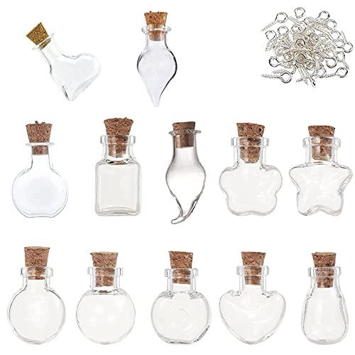 12 Piezas Viales Desean Botella,Mini Botellas De Cristal Con Corcho,Botes Cristal Pequeños,Deseos Vacía Viales,Para Bodas,Joyería,Regalos Para Invitados
