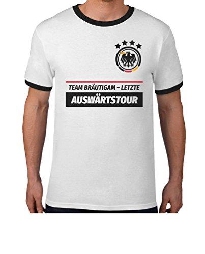 JGA Tshirt Junggesellenabschied Männer Polterabend Team Bräutigam Letzte Auswärtstour T-Shirt XL Weiß/Schwarz