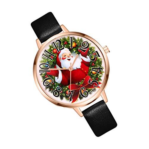 UKCOCO Orologio al Quarzo per Donna - Orologio a Tema Natalizio Orologio da Stampa Babbo Natale con Cinturino in Pelle per Donna Landy (Colore Casuale)