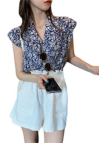 [Ksila]シャツ レディース ノースリーブ 袖なし プリント 柄 カジュアル 花柄 トップス ブラウス 開襟シャ...