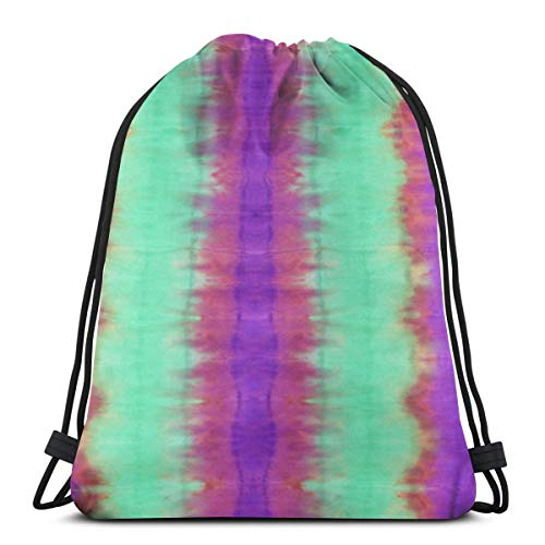Sunny R Abstract Hand Painted Tie-die Background With Striped Traditional Ethnic Style Drawstring Backpack Bag Gym Dance Bags Birthday Gift For Kids Teen 17×14 Inches