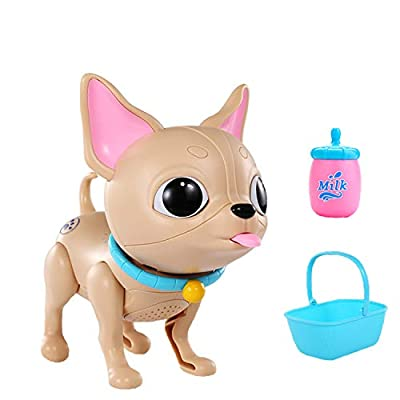 Haite Electronic Robot Dog Toy, Little Puppy Pet with Feeding Function,Soft Light and Dog Voice, Sitting in Basket,Best Present for Daughters,Girls,Boys, Toddlers,Kids (Dog)