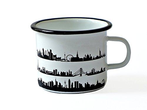 Hochwertiger Emaille Becher Tasse 500ml Skyline Motiv schwarz weiß